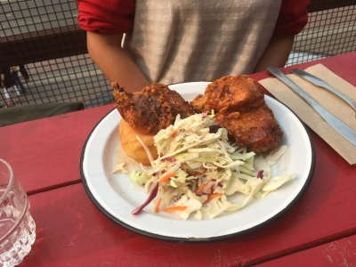 Interesting Combo of Fried Chicken and Donut with a side of coleslaw at Have Mercy